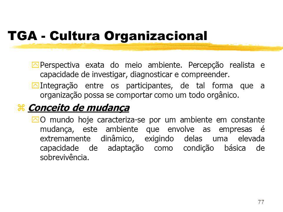 77 TGA - Cultura Organizacional yPerspectiva exata do meio ambiente.