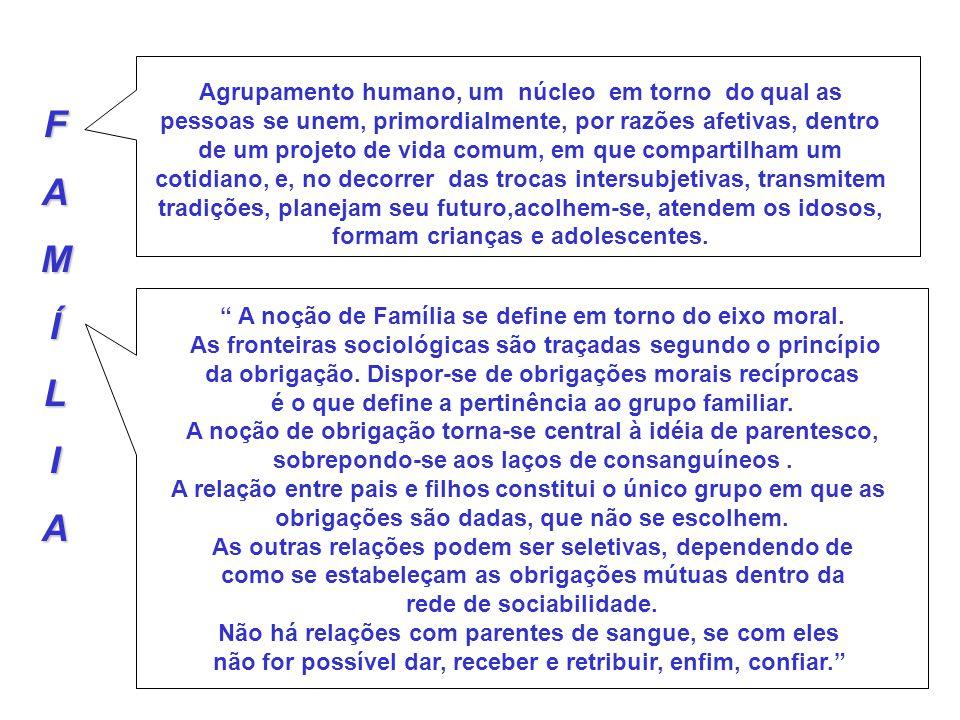 FAMÍLIA Agrupamento humano, um núcleo em torno do qual as pessoas se unem, primordialmente, por razões afetivas, dentro de um projeto de vida comum, e