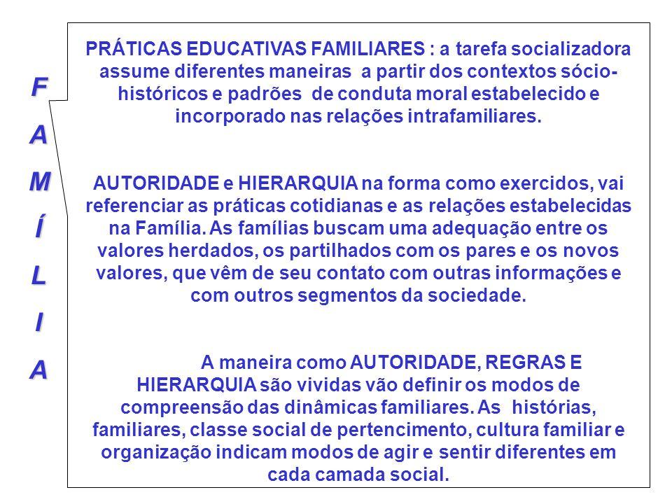 FAMÍLIA PRÁTICAS EDUCATIVAS FAMILIARES : a tarefa socializadora assume diferentes maneiras a partir dos contextos sócio- históricos e padrões de condu
