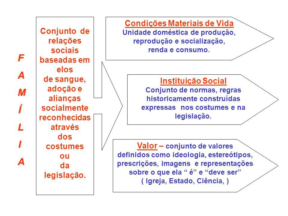 FAMÍLIA Conjunto de relações sociais baseadas em elos de sangue, adoção e alianças socialmente reconhecidas através dos costumes ou da legislação. Con