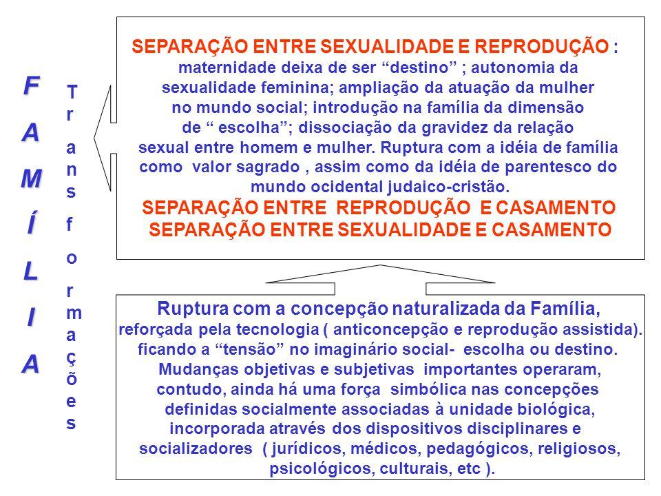 FAMÍLIA SEPARAÇÃO ENTRE SEXUALIDADE E REPRODUÇÃO : maternidade deixa de ser destino ; autonomia da sexualidade feminina; ampliação da atuação da mulhe