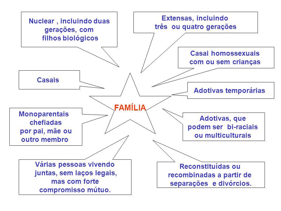 Extensas, incluindo três ou quatro gerações Nuclear, incluindo duas gerações, com filhos biológicos Várias pessoas vivendo juntas, sem laços legais, m
