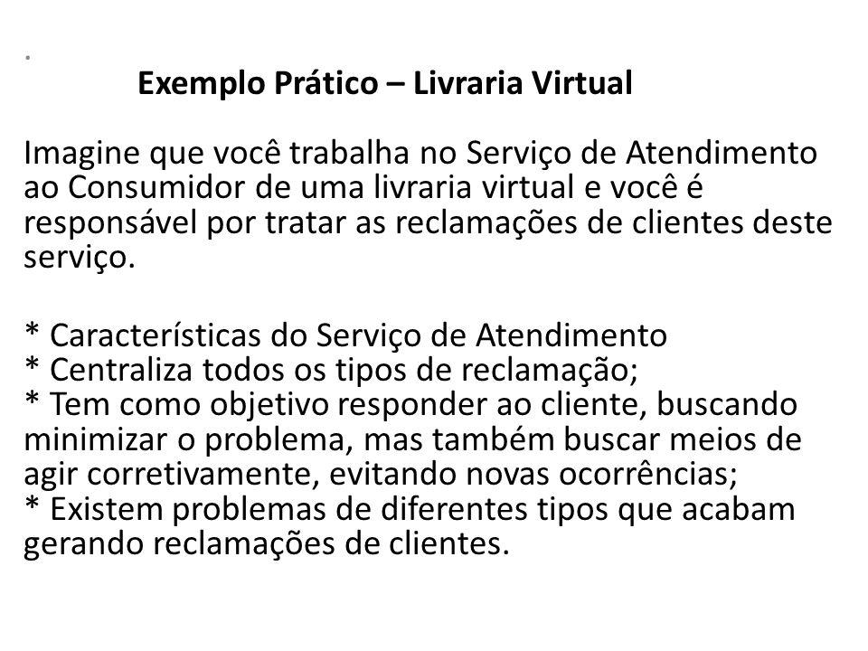 . Exemplo Prático – Livraria Virtual Imagine que você trabalha no Serviço de Atendimento ao Consumidor de uma livraria virtual e você é responsável po