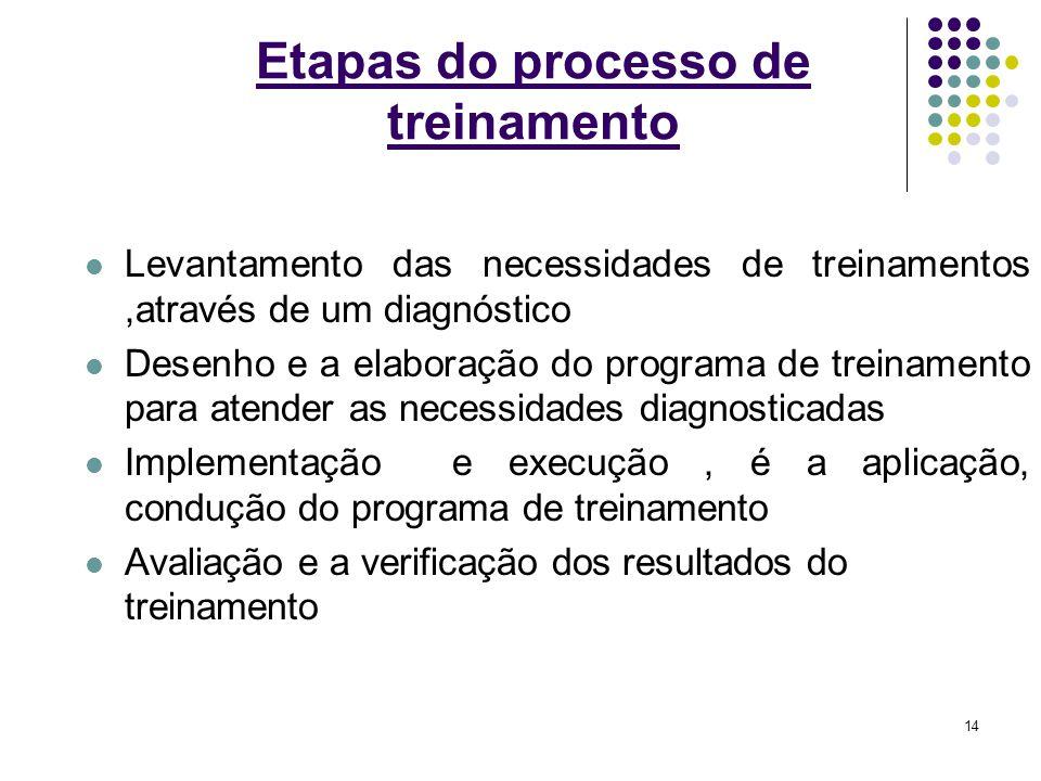 14 Etapas do processo de treinamento Levantamento das necessidades de treinamentos,através de um diagnóstico Desenho e a elaboração do programa de tre