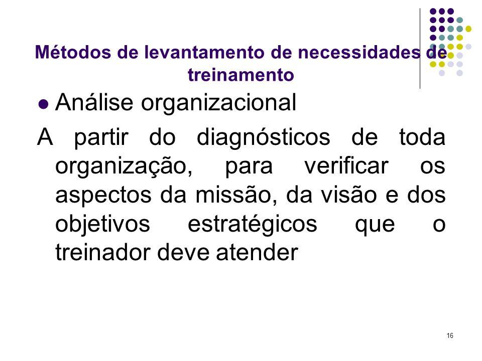 16 Métodos de levantamento de necessidades de treinamento Análise organizacional A partir do diagnósticos de toda organização, para verificar os aspec