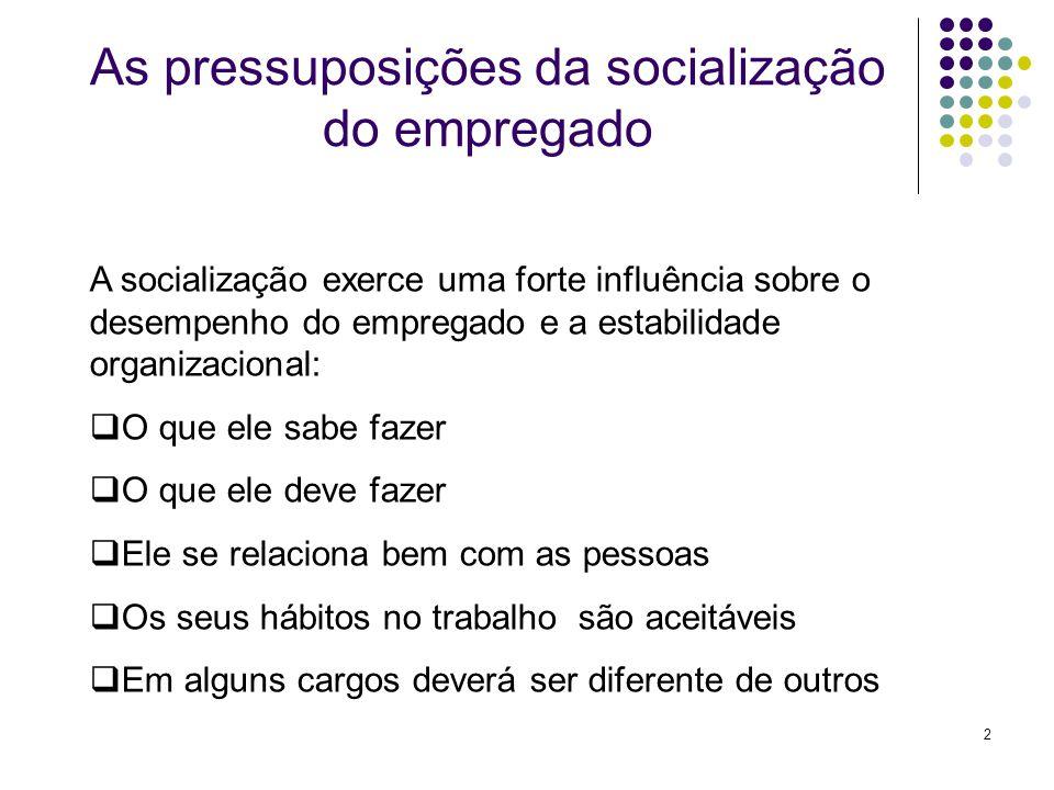 2 A socialização exerce uma forte influência sobre o desempenho do empregado e a estabilidade organizacional: O que ele sabe fazer O que ele deve faze