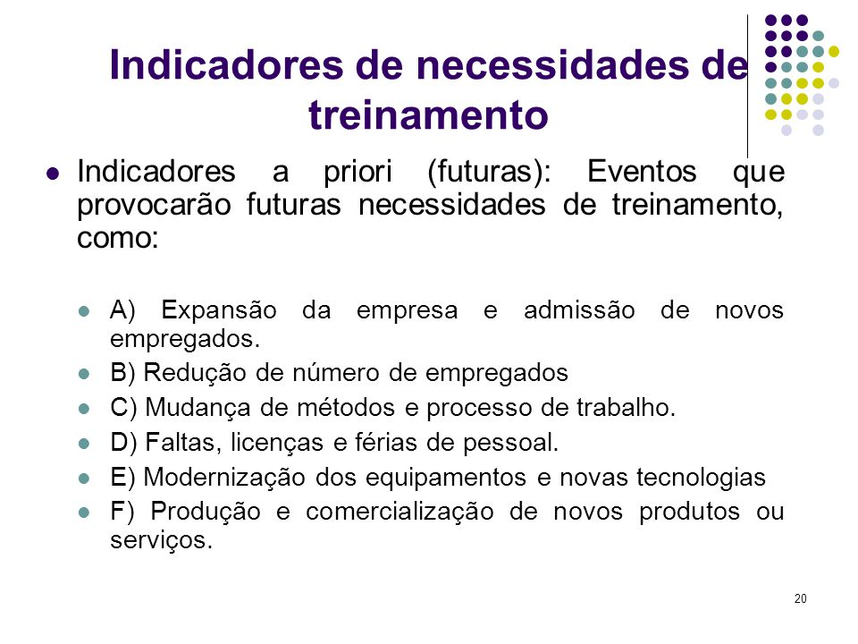 20 Indicadores de necessidades de treinamento Indicadores a priori (futuras): Eventos que provocarão futuras necessidades de treinamento, como: A) Exp