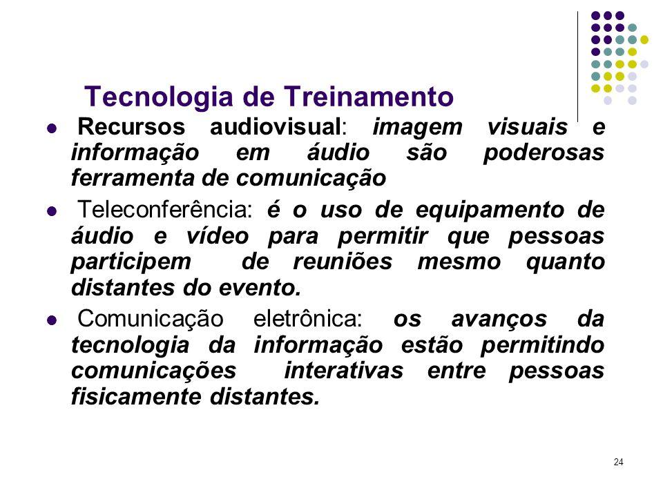 24 Tecnologia de Treinamento Recursos audiovisual: imagem visuais e informação em áudio são poderosas ferramenta de comunicação Teleconferência: é o u