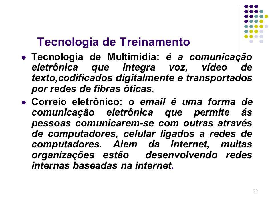 25 Tecnologia de Treinamento Tecnologia de Multimídia: é a comunicação eletrônica que integra voz, vídeo de texto,codificados digitalmente e transport