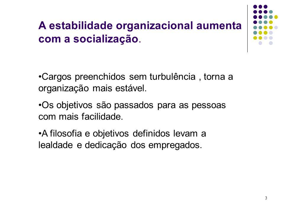 3 A estabilidade organizacional aumenta com a socialização. Cargos preenchidos sem turbulência, torna a organização mais estável. Os objetivos são pas