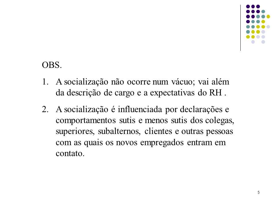 5 OBS. 1.A socialização não ocorre num vácuo; vai além da descrição de cargo e a expectativas do RH. 2.A socialização é influenciada por declarações e