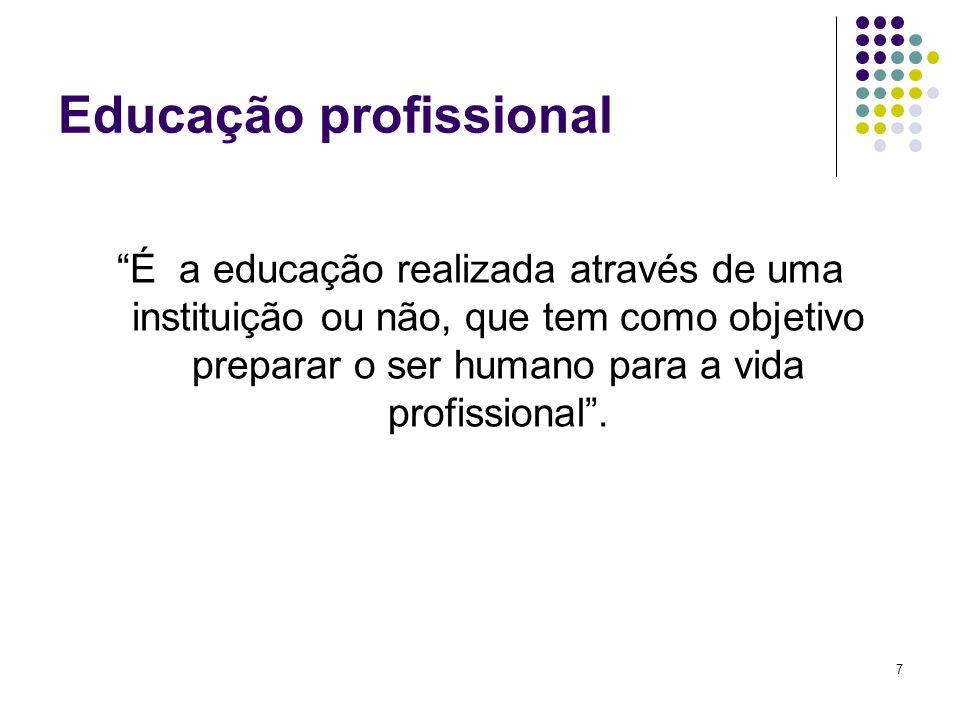 8 Etapas da Educação profissional: Formação profissional Objetiva preparar o homem para o exercício de sua profissão Aperfeiçoamento profissional Objetiva aperfeiçoar o homem para uma carreira dentro da sua profissão Treinamento É a educação que prepara o homem para um cargo ou função
