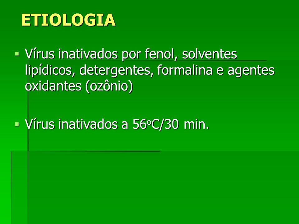 ETIOLOGIA Vírus inativados por fenol, solventes lipídicos, detergentes, formalina e agentes oxidantes (ozônio) Vírus inativados por fenol, solventes l