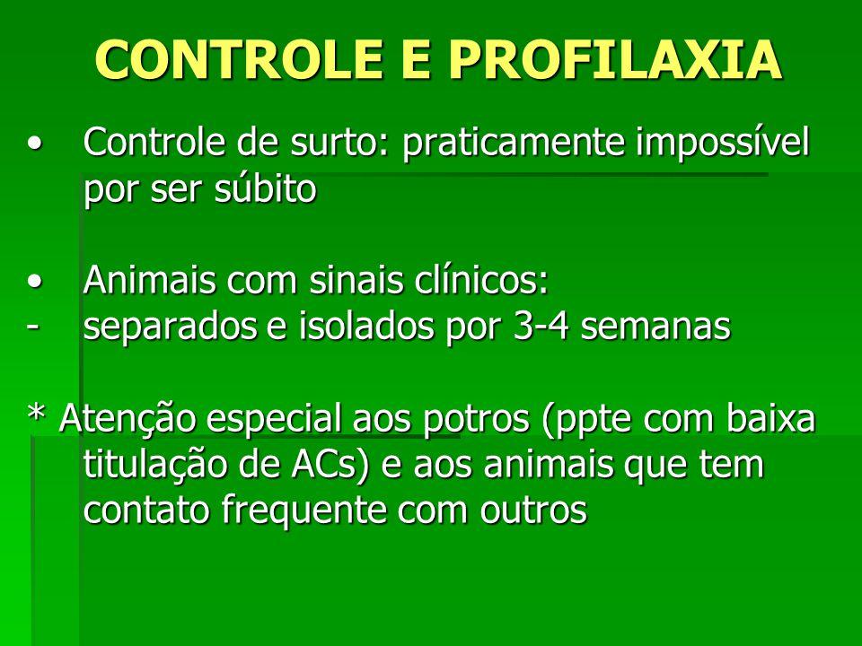 CONTROLE E PROFILAXIA Controle de surto: praticamente impossível por ser súbitoControle de surto: praticamente impossível por ser súbito Animais com s