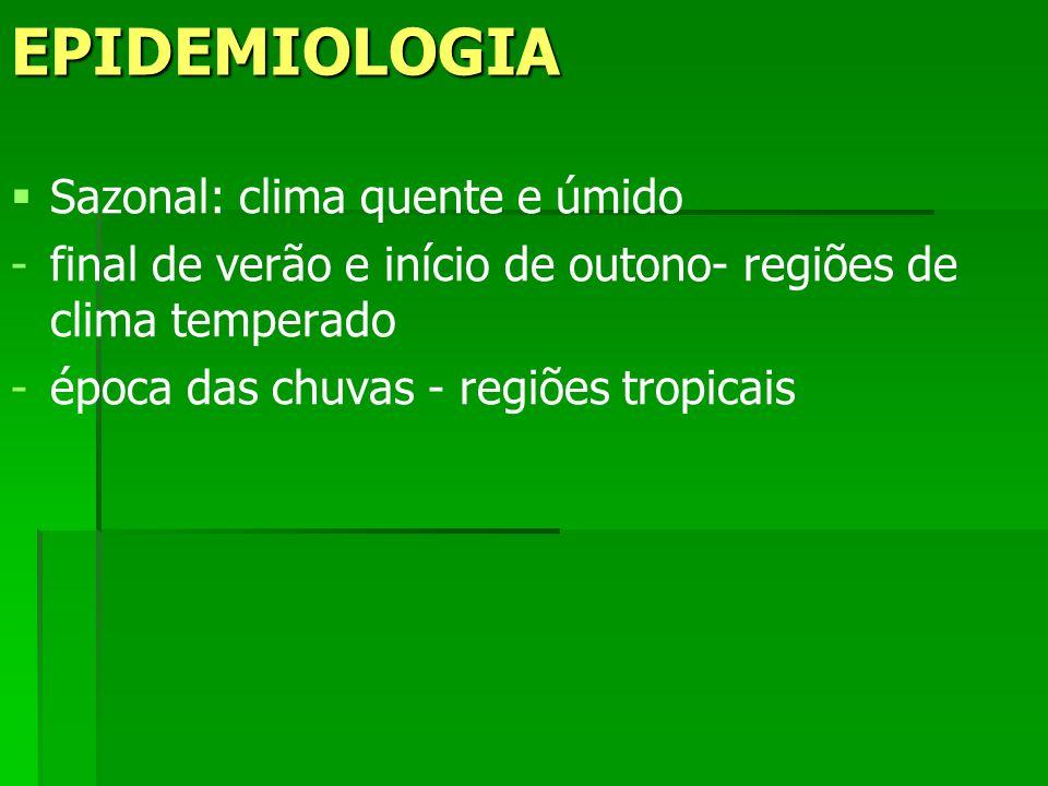 EPIDEMIOLOGIA Sazonal: clima quente e úmido - -final de verão e início de outono- regiões de clima temperado - -época das chuvas - regiões tropicais