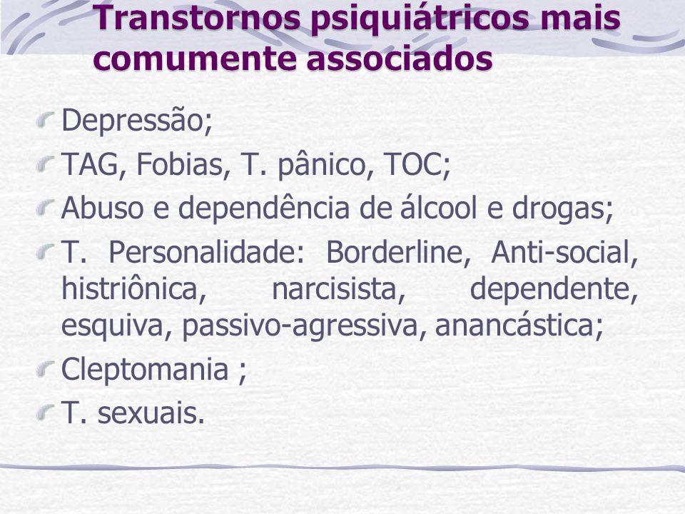 Depressão; TAG, Fobias, T. pânico, TOC; Abuso e dependência de álcool e drogas; T. Personalidade: Borderline, Anti-social, histriônica, narcisista, de