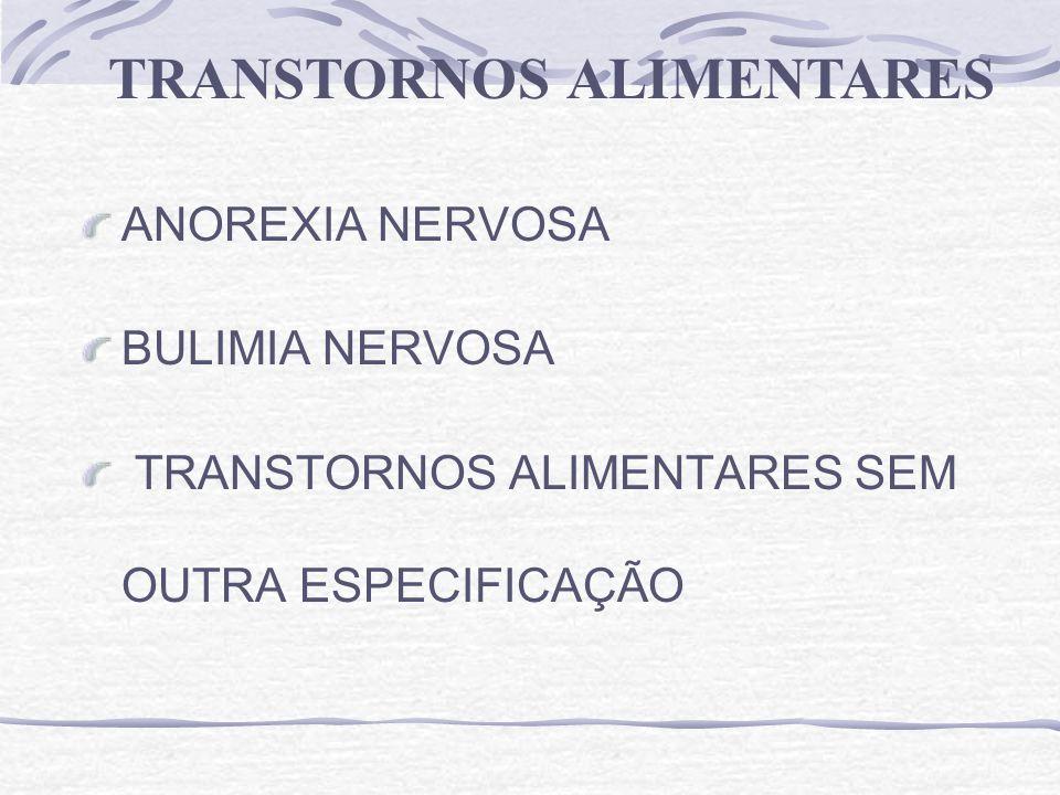 ANOREXIA NERVOSA BULIMIA NERVOSA TRANSTORNOS ALIMENTARES SEM OUTRA ESPECIFICAÇÃO TRANSTORNOS ALIMENTARES
