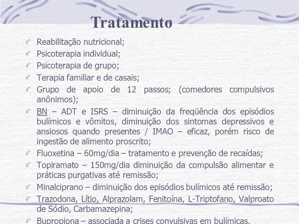 Reabilitação nutricional; Psicoterapia individual; Psicoterapia de grupo; Terapia familiar e de casais; Grupo de apoio de 12 passos; (comedores compul