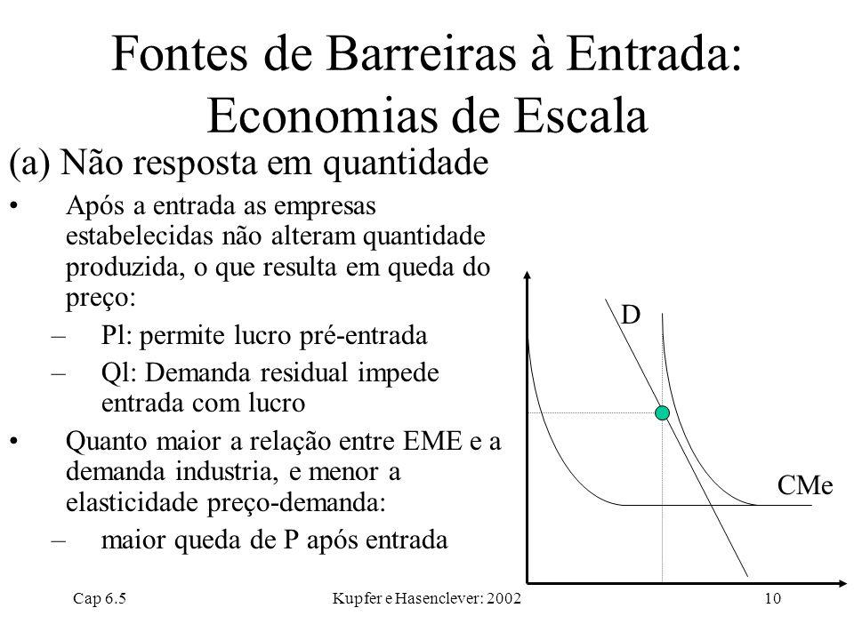 Cap 6.5Kupfer e Hasenclever: 200210 Fontes de Barreiras à Entrada: Economias de Escala (a) Não resposta em quantidade Após a entrada as empresas estab