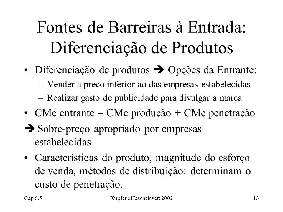 Cap 6.5Kupfer e Hasenclever: 200213 Fontes de Barreiras à Entrada: Diferenciação de Produtos Diferenciação de produtos Opções da Entrante: –Vender a p