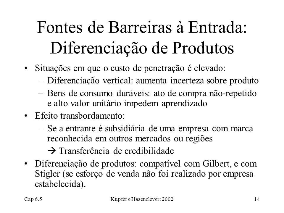 Cap 6.5Kupfer e Hasenclever: 200214 Fontes de Barreiras à Entrada: Diferenciação de Produtos Situações em que o custo de penetração é elevado: –Difere
