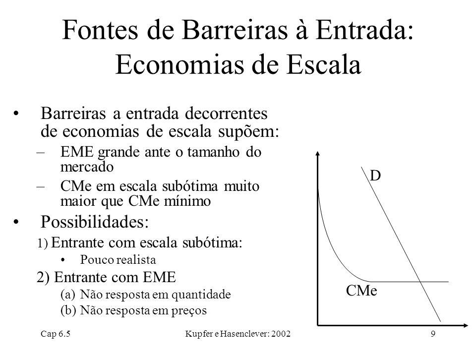 Cap 6.5Kupfer e Hasenclever: 20029 Fontes de Barreiras à Entrada: Economias de Escala Barreiras a entrada decorrentes de economias de escala supõem: –