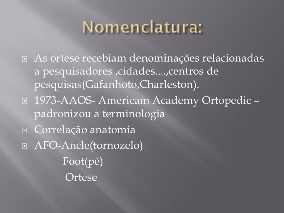As órtese recebiam denominações relacionadas a pesquisadores,cidades....,centros de pesquisas(Gafanhoto,Charleston). 1973-AAOS- Americam Academy Ortop