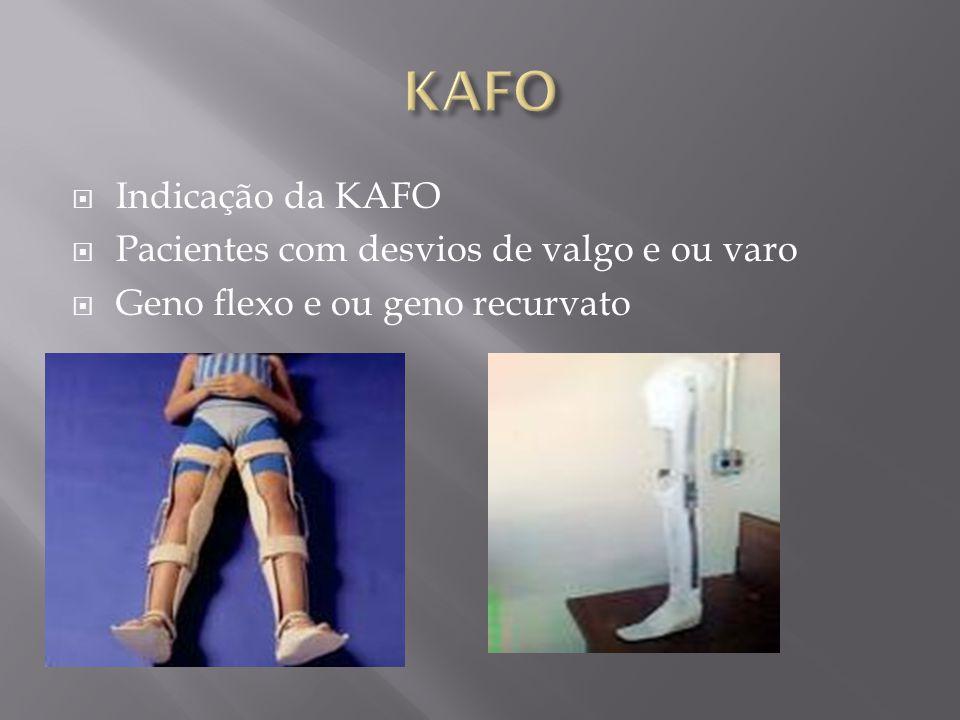 Indicação da KAFO Pacientes com desvios de valgo e ou varo Geno flexo e ou geno recurvato