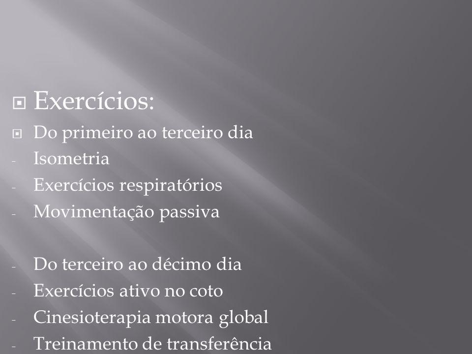 Exercícios: Do primeiro ao terceiro dia - Isometria - Exercícios respiratórios - Movimentação passiva - Do terceiro ao décimo dia - Exercícios ativo n
