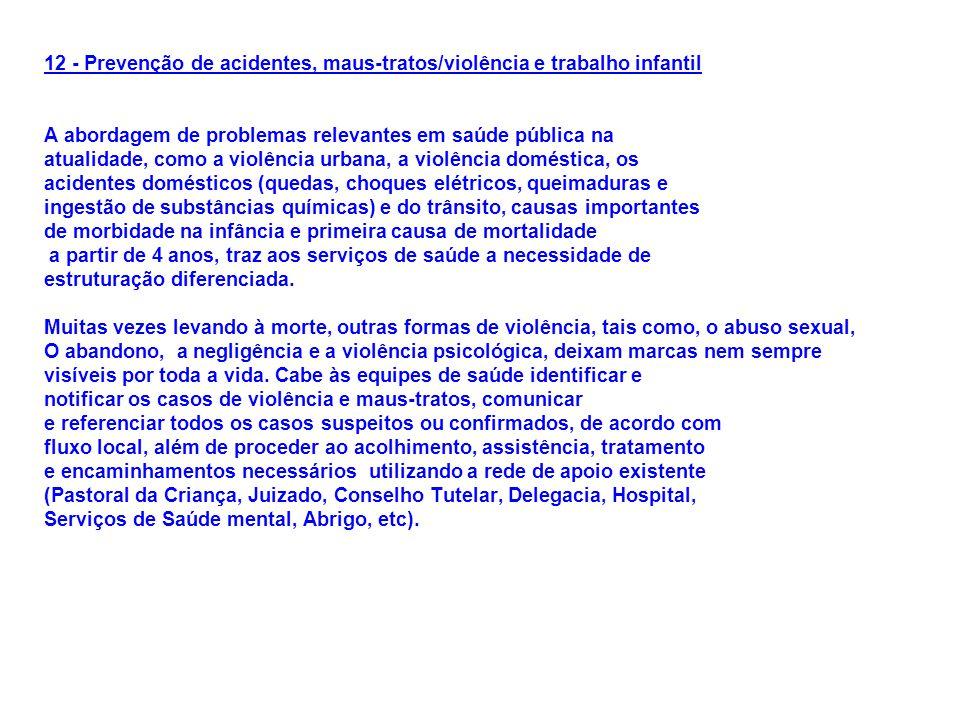 12 - Prevenção de acidentes, maus-tratos/violência e trabalho infantil A abordagem de problemas relevantes em saúde pública na atualidade, como a viol