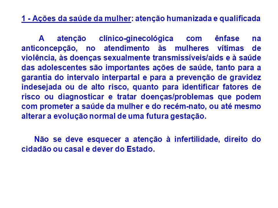 1 - Ações da saúde da mulher: atenção humanizada e qualificada A atenção clínico-ginecológica com ênfase na anticoncepção, no atendimento às mulheres