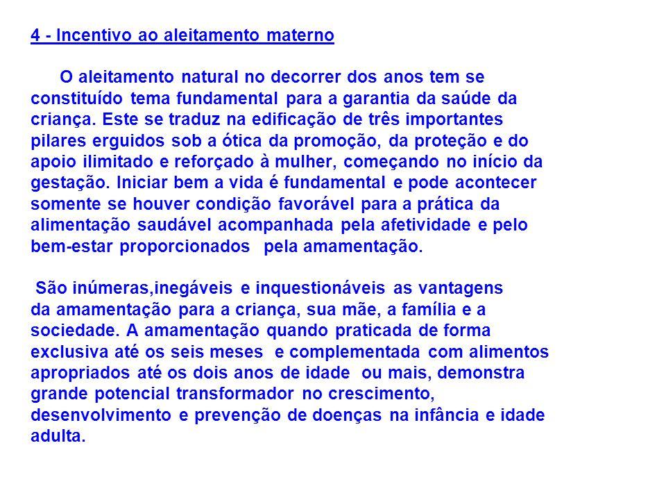 4 - Incentivo ao aleitamento materno O aleitamento natural no decorrer dos anos tem se constituído tema fundamental para a garantia da saúde da criança.