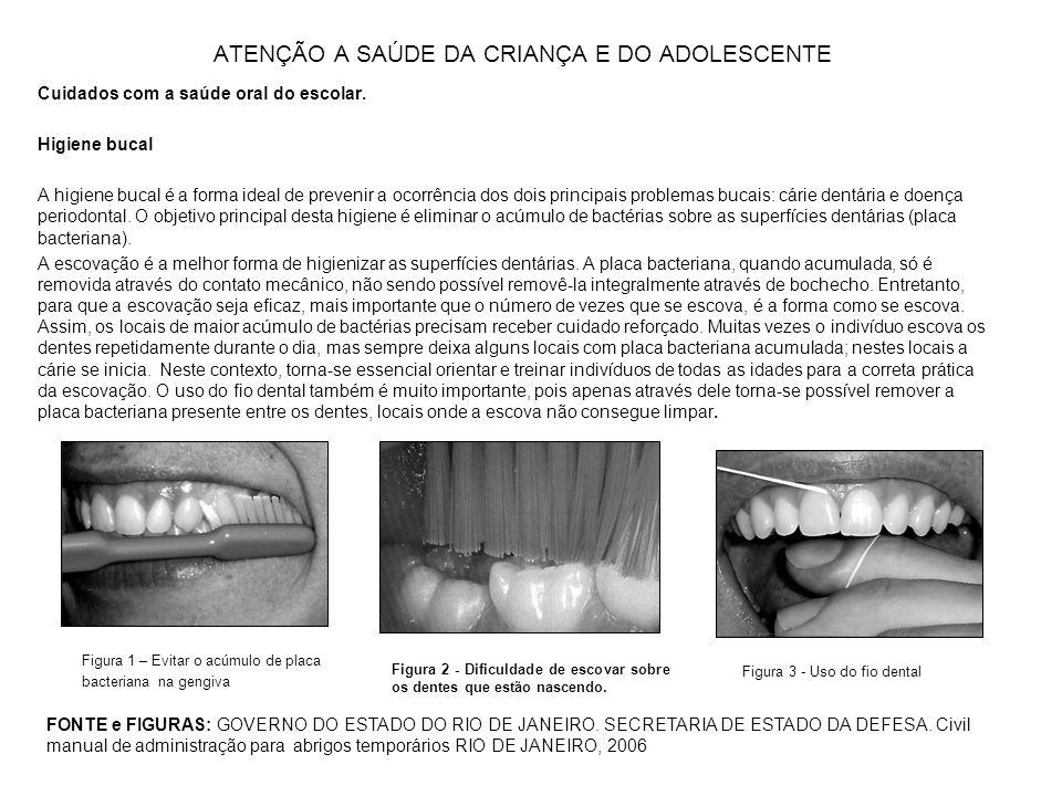 ATENÇÃO A SAÚDE DA CRIANÇA E DO ADOLESCENTE Cuidados com a saúde oral do escolar. Higiene bucal A higiene bucal é a forma ideal de prevenir a ocorrênc