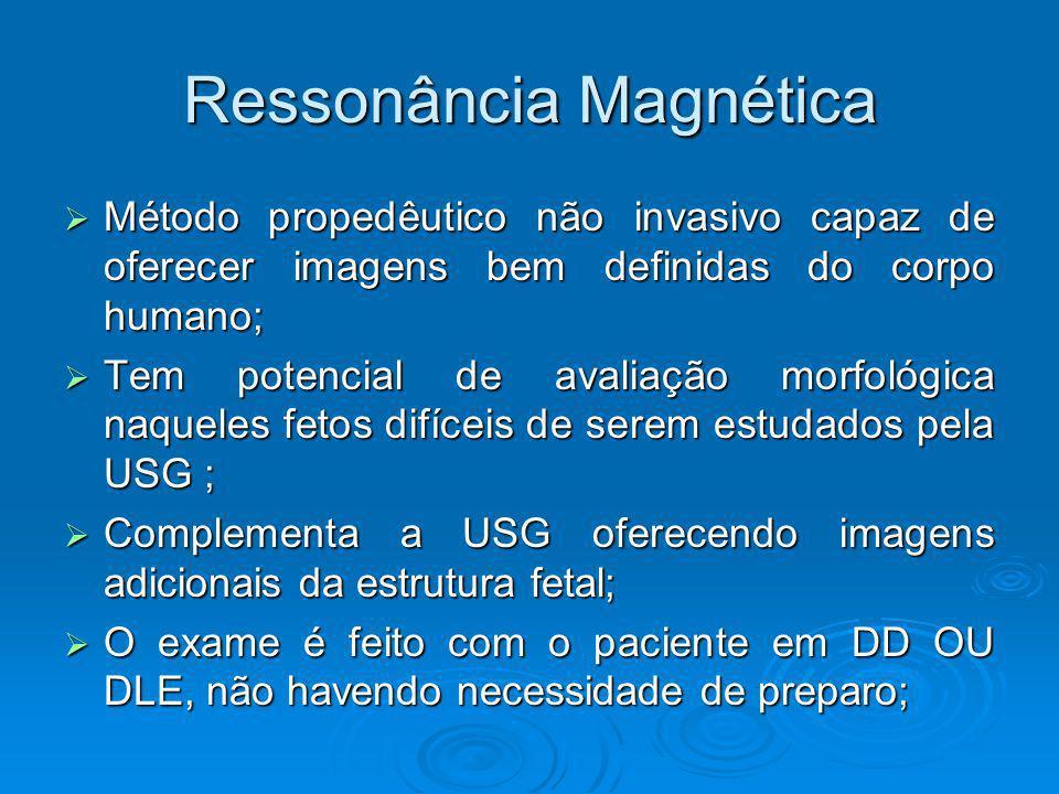 Ressonância Magnética Método propedêutico não invasivo capaz de oferecer imagens bem definidas do corpo humano; Método propedêutico não invasivo capaz