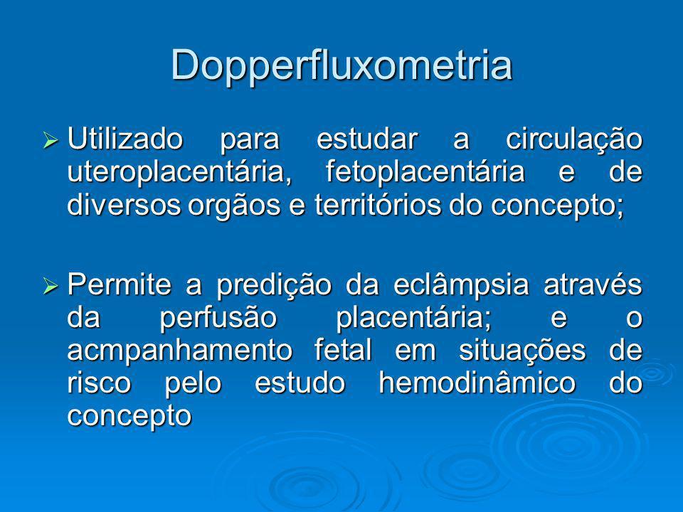 Dopperfluxometria Utilizado para estudar a circulação uteroplacentária, fetoplacentária e de diversos orgãos e territórios do concepto; Utilizado para