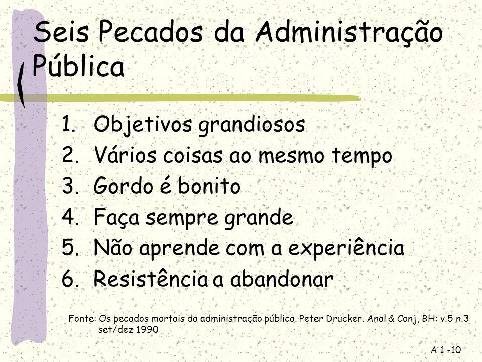 A 1 -10 Seis Pecados da Administração Pública 1.Objetivos grandiosos 2.Vários coisas ao mesmo tempo 3.Gordo é bonito 4.Faça sempre grande 5.Não aprend