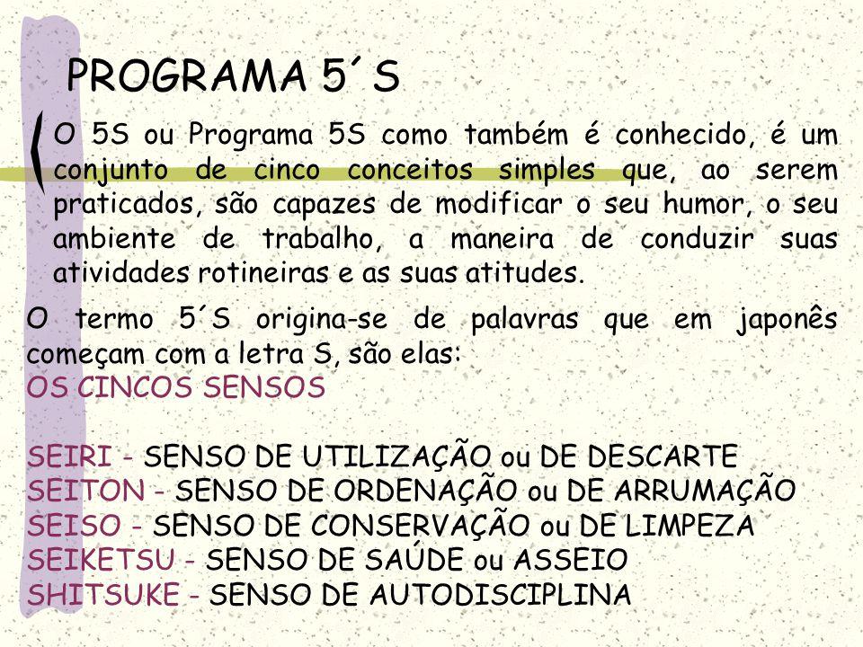 PROGRAMA 5´S O 5S ou Programa 5S como também é conhecido, é um conjunto de cinco conceitos simples que, ao serem praticados, são capazes de modificar