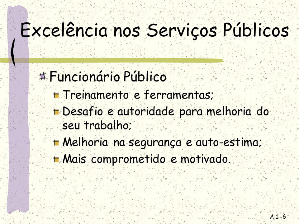 A 1 -6 Excelência nos Serviços Públicos Funcionário Público Treinamento e ferramentas; Desafio e autoridade para melhoria do seu trabalho; Melhoria na