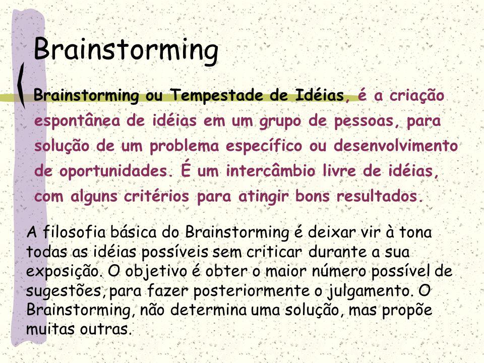 Brainstorming Brainstorming ou Tempestade de Idéias, é a criação espontânea de idéias em um grupo de pessoas, para solução de um problema específico o