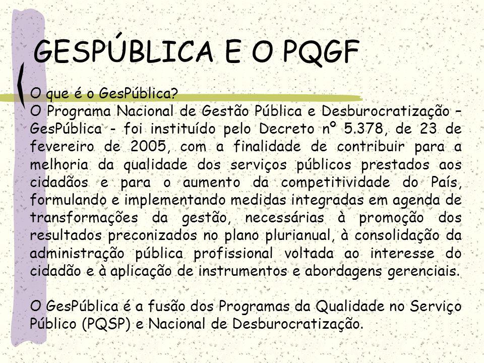 GESPÚBLICA E O PQGF O que é o GesPública? O Programa Nacional de Gestão Pública e Desburocratização – GesPública - foi instituído pelo Decreto nº 5.37