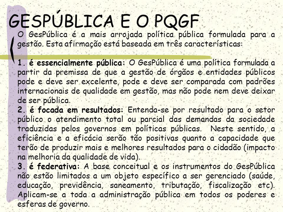 GESPÚBLICA E O PQGF O GesPública é a mais arrojada política pública formulada para a gestão. Esta afirmação está baseada em três características: 1. é