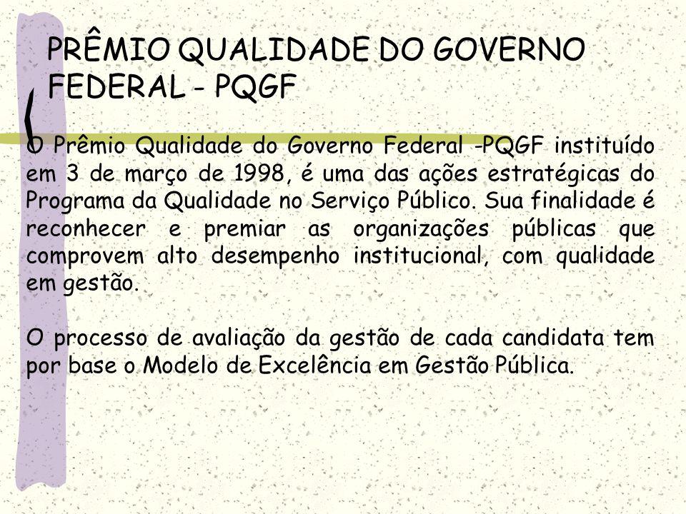 PRÊMIO QUALIDADE DO GOVERNO FEDERAL - PQGF O Prêmio Qualidade do Governo Federal -PQGF instituído em 3 de março de 1998, é uma das ações estratégicas