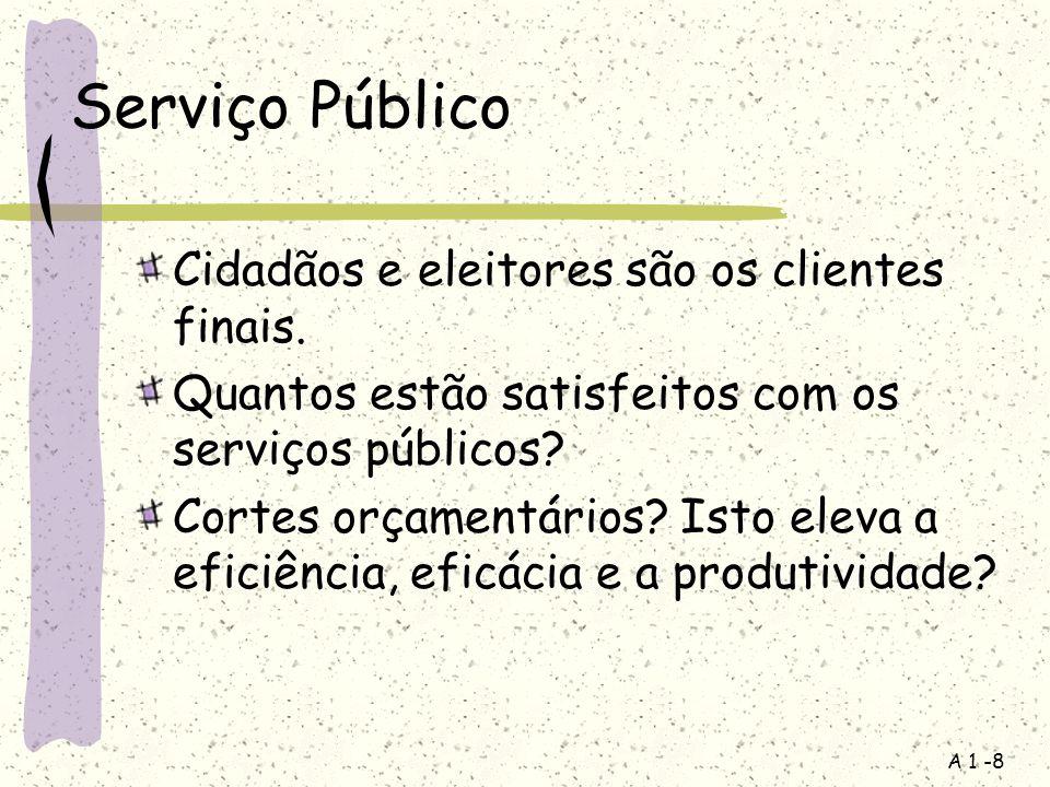 A 1 -8 Serviço Público Cidadãos e eleitores são os clientes finais. Quantos estão satisfeitos com os serviços públicos? Cortes orçamentários? Isto ele
