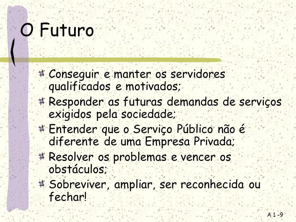 A 1 -9 O Futuro Conseguir e manter os servidores qualificados e motivados; Responder as futuras demandas de serviços exigidos pela sociedade; Entender