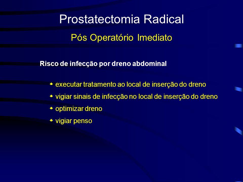 Prostatectomia Radical Pós Operatório Imediato Risco de infecção por dreno abdominal executar tratamento ao local de inserção do dreno vigiar sinais de infecção no local de inserção do dreno optimizar dreno vigiar penso