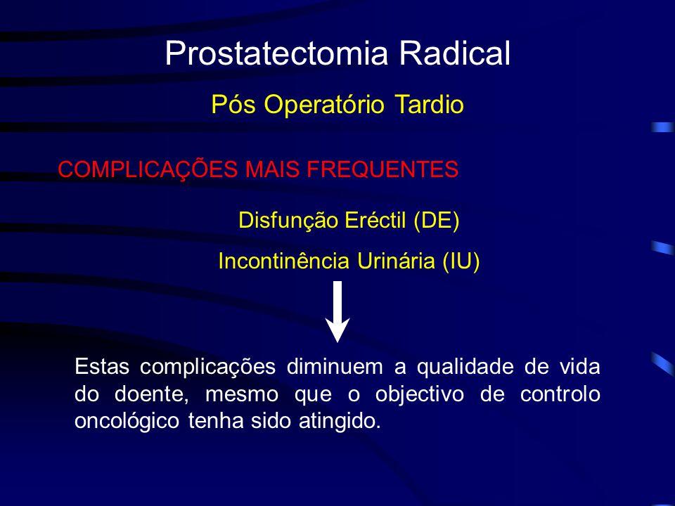 Prostatectomia Radical Pós Operatório Tardio COMPLICAÇÕES MAIS FREQUENTES Disfunção Eréctil (DE) Incontinência Urinária (IU) Estas complicações diminuem a qualidade de vida do doente, mesmo que o objectivo de controlo oncológico tenha sido atingido.