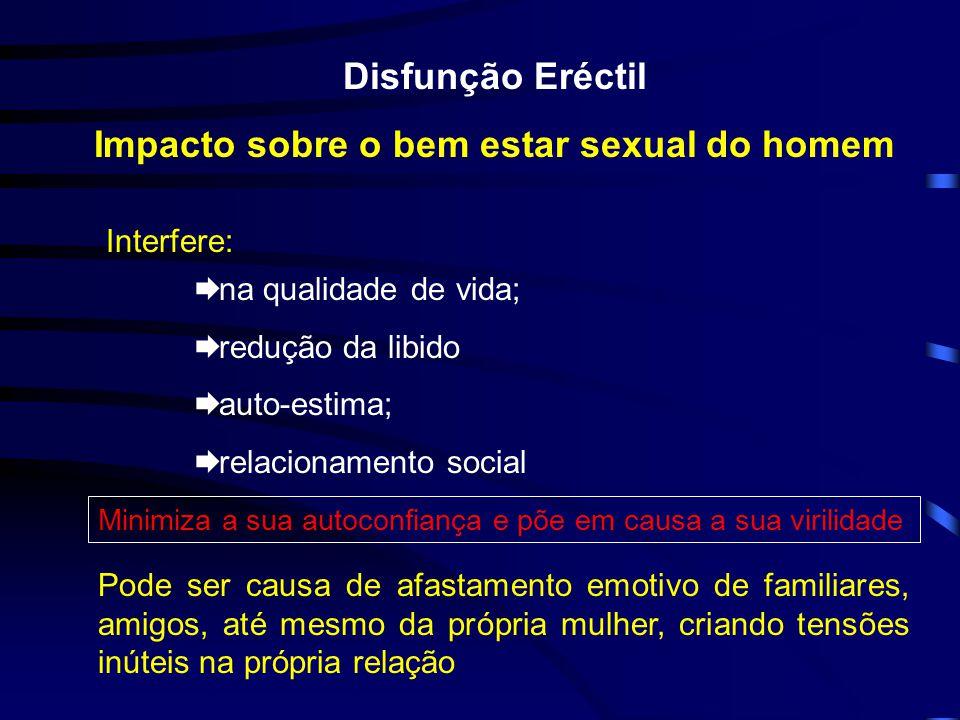 Disfunção Eréctil Impacto sobre o bem estar sexual do homem Interfere: na qualidade de vida; redução da libido auto-estima; relacionamento social Mini