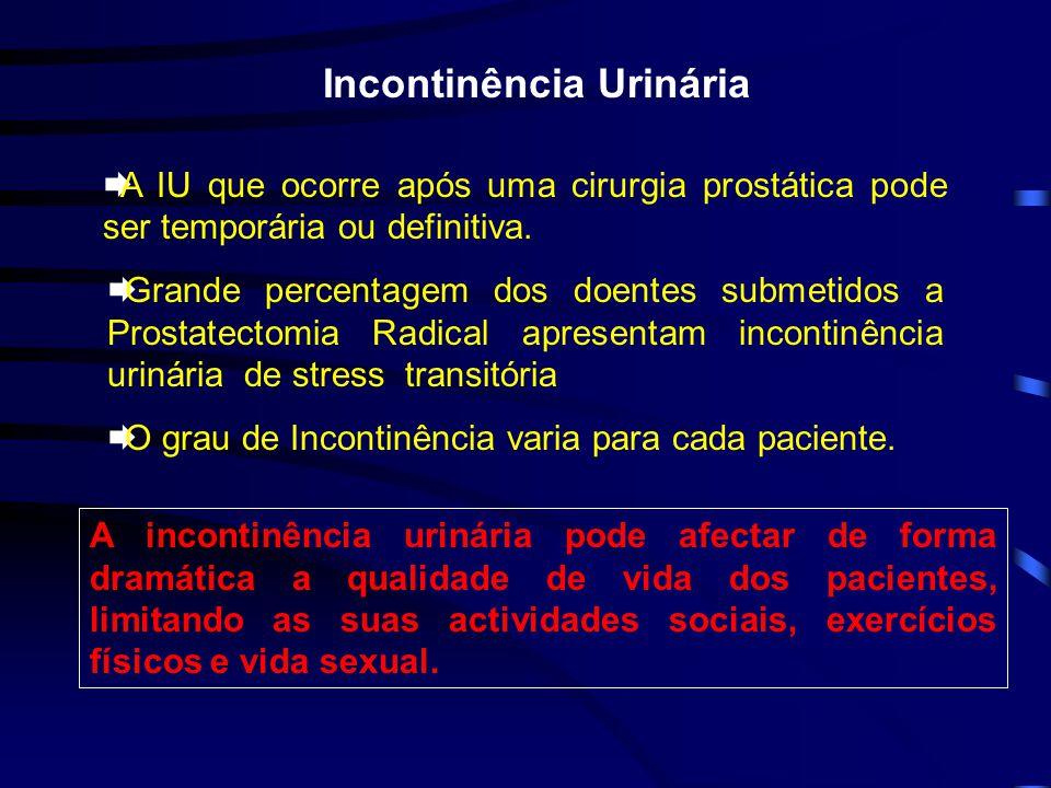 Incontinência Urinária A IU que ocorre após uma cirurgia prostática pode ser temporária ou definitiva. Grande percentagem dos doentes submetidos a Pro