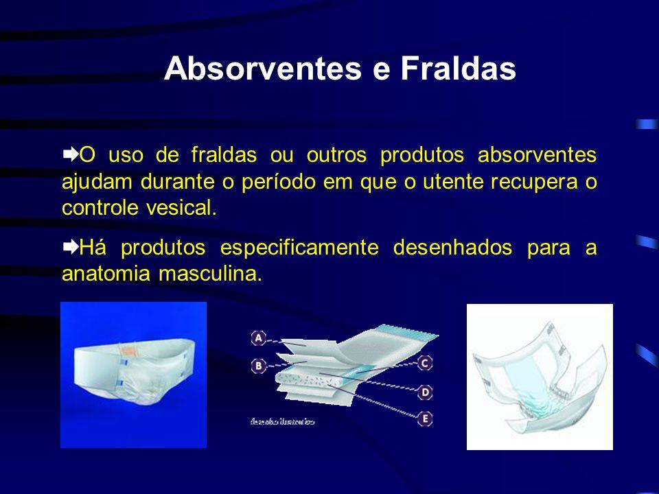 Absorventes e Fraldas O uso de fraldas ou outros produtos absorventes ajudam durante o período em que o utente recupera o controle vesical.