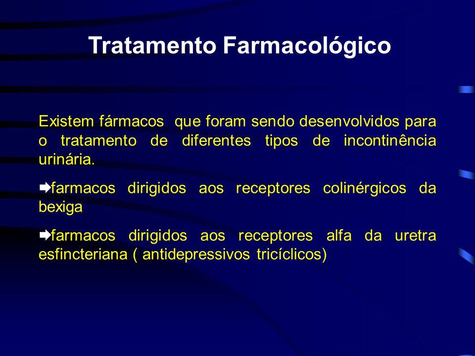 Tratamento Farmacológico Existem fármacos que foram sendo desenvolvidos para o tratamento de diferentes tipos de incontinência urinária.